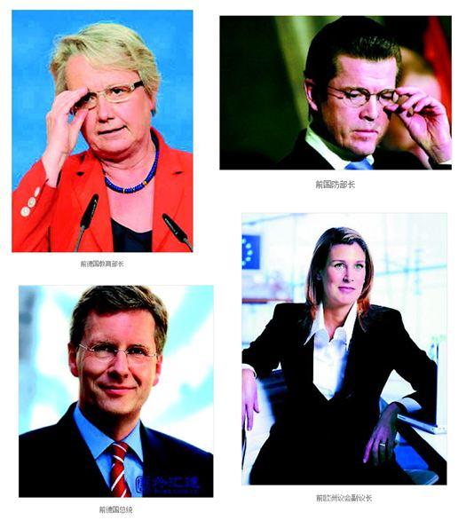 Ein heiß diskutierter Sina- Artikel über die Schavan-Affäre startet mit dieser Galerie zurückgetretener deutscher Politiker. © Screenshot by Oliver Poettgen