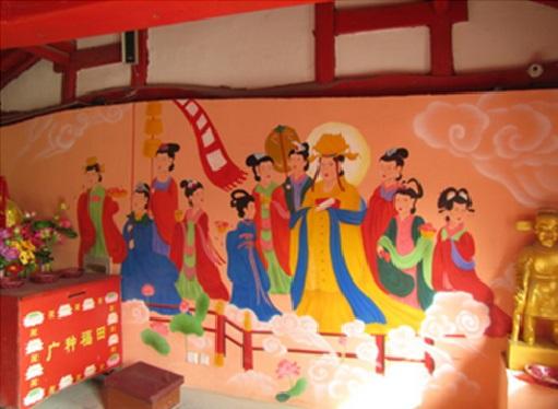Wandmalerei im Yunjie-Tempel in Chaoyang nach der Restauration © Screenshot Lisa Krauss
