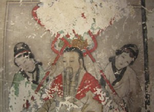 Wandmalerei im Yunjie-Tempel in Chaoyang vor der Restauration © Screenshot Lisa Krauss