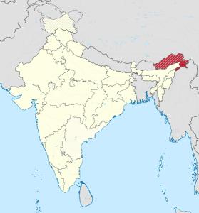 """Umstrittenes Gebiet """"Südtibet"""" (gestrichelte Markierung)  © TUBS, via Wikimedia Commons"""