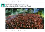 12.000 Menschen versammeln sich in Hongkong um an den 4.Juni 1989 zu erinnern. Screenshot Tweet Joshua Wong, 5.Juni 2016.