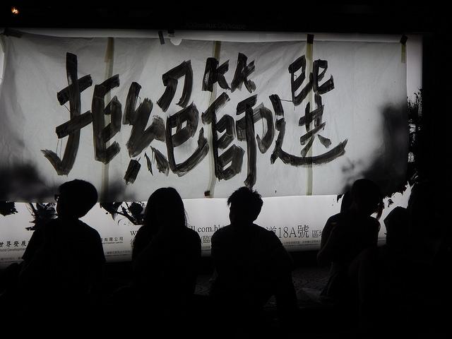 """Ein aufgemalter Slogan als Ausdruck des Protests gegen die Selektierung pro-demokratischer bzw. pro-unabhängiger Kandidaten (""""Gegen eine Vorauswahl""""), (c) Ping Fang via Flickr"""