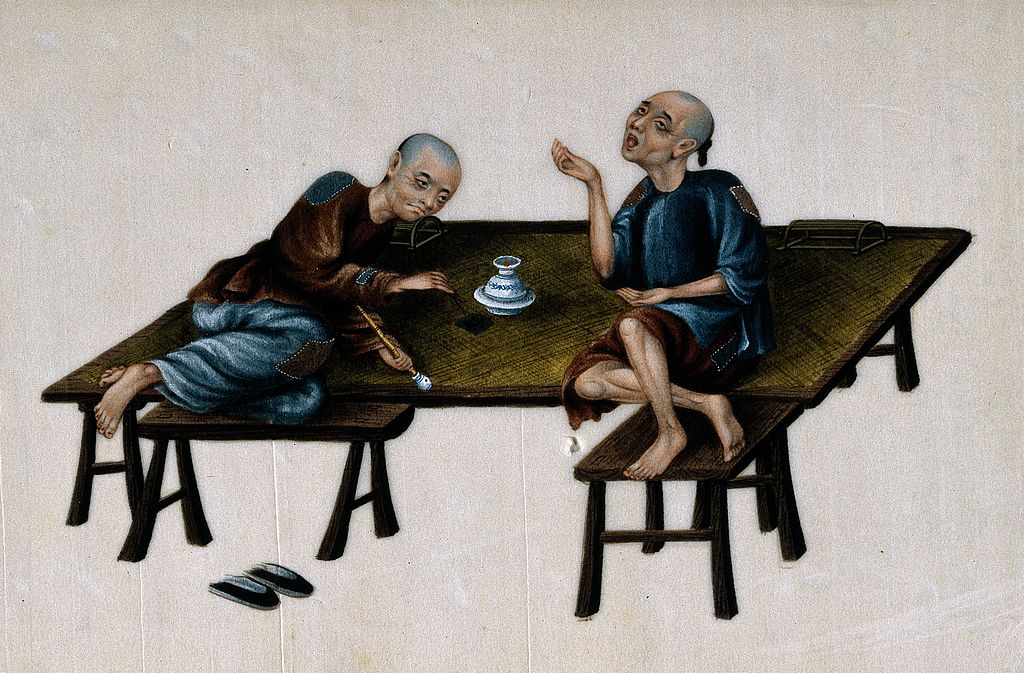 "Zur Zeit der Opiumkriege waren große Teile der chinesischen Bevölkerung opiumsüchtig. Quelle: Wikicommons: ""Two poor Chinese opium smokers."" http://tinyurl.com/z5rbea6"