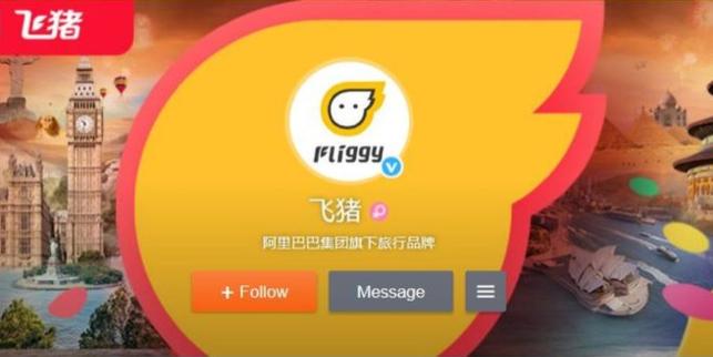 """""""Fliggy"""" – so der englische Name von 飞猪, fliegendes Schwein, dem neuen Reiseanbieter von Alibaba. Screenshot: Sarah Koeksal, 25.11.2016."""