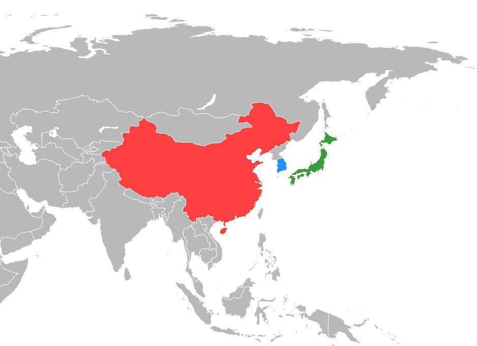 China (rot) und Südkorea (blau). Autor:  Myouzke, via Wkipedia (https://commons.wikimedia.org/wiki/File:China-Japan-South_Korea_trilateral_meeting.png)