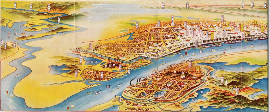 Japanische Karte aus den 1930er Jahren: Wuchang im Süden mit Wuhan-Universität, nördlich des Yangtse die Stadtteile Hankou (Osten) sowie Hanyang (Westen), getrennt durch den Fluss Han. 1953 entstand durch Zusammenschluss das heutige Wuhan. Quelle: tinyurl.com/yb3bsz6z