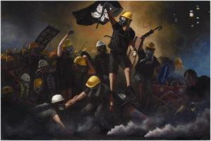 """Die künstlerischen Ausführungen der Protestler sind sowohl elegant als auch kreativ. Hier eine Referenz auf das berühmte Gemälde """"Freiheit führt das Volk"""" von Eugene Delacroix. Quelle: Telegram"""