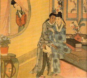 """""""Männliches Liebespaar und weiblicher Voyeur"""": Homosexualität war im chinesischen Altertum weniger problematisch als heute; Quelle: Wikipedia"""