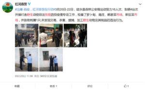 Screenshot: Auf Weibo posteten Nutzer Bilder von den Polizeikontrollen, die auf einigen Märkten stattfanden.